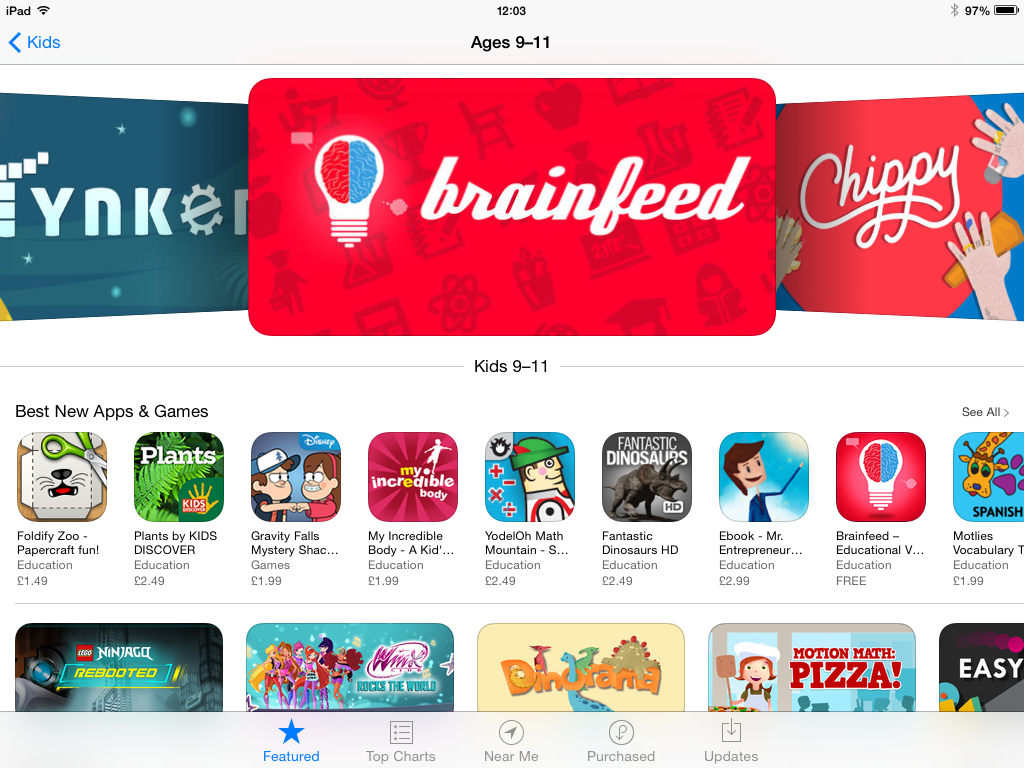 Main banner for Kids 9-11 in the UK App Store — April 27, 2014