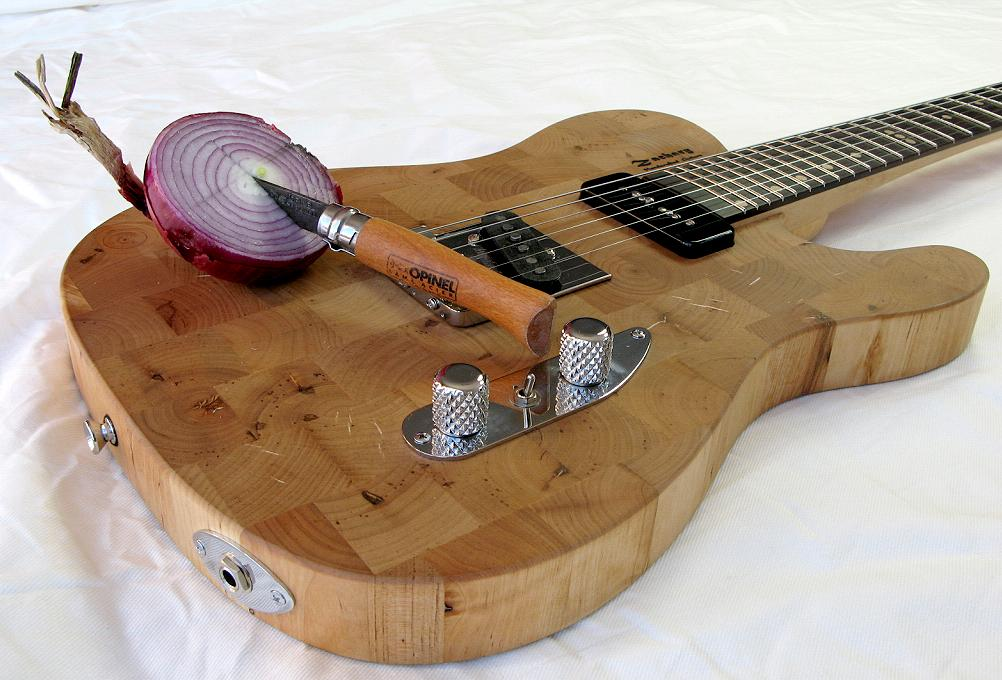 Ikea Butcher Block Guitar by Zachary Guitars. Onion by Piggly Wiggly.