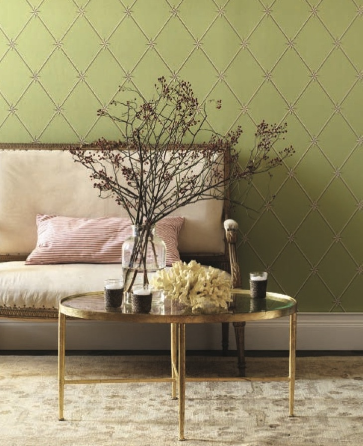 green-walls-settee-brass-table-living-room-wallpaper-pink-pillow-accent-eclectic-home-decor-ideas-via-full-house.jpg