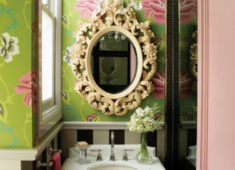 bathroom bliss green pink walllpaper decorista.jpg