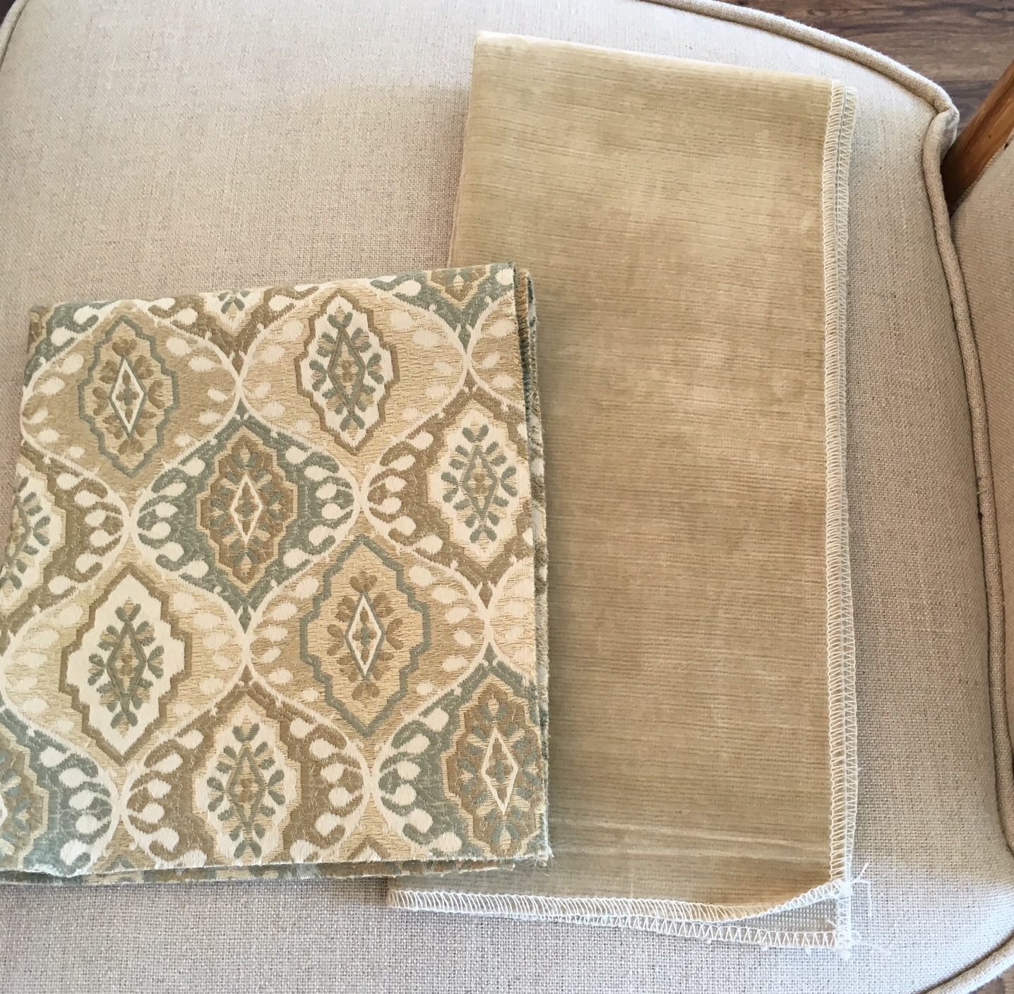 Hearth Room Fabrics - Patterned Chairs and Taupe Velvet Sofa Fabric