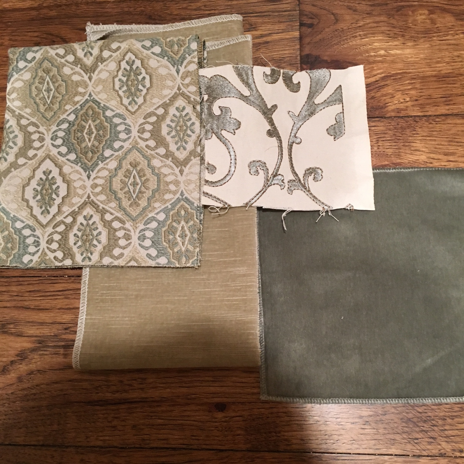 Hearth Room Fabrics - Patterned Chairs, Taupe Velvet Sofa , Embroidered fabric for Drapes/ Ottomans