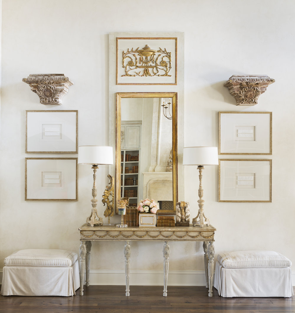 Formal Living - Antique Pier Mirror and Console from  Eloquence  , Custom Ottomans