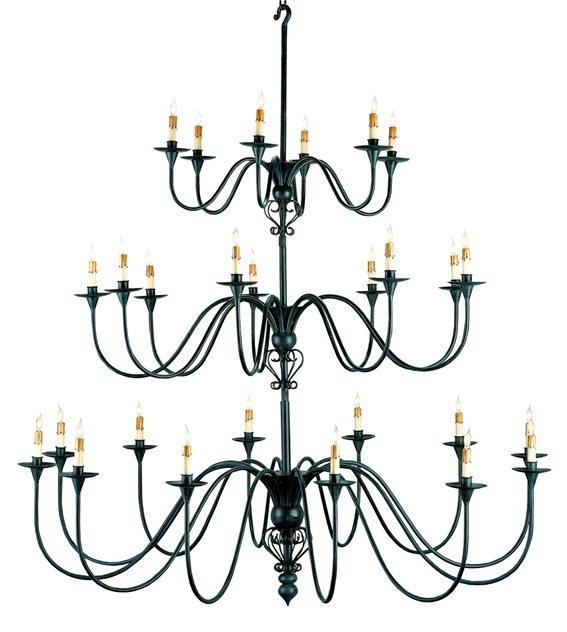Formal Living room  TITAN CHANDELIER from Currey & Co  .