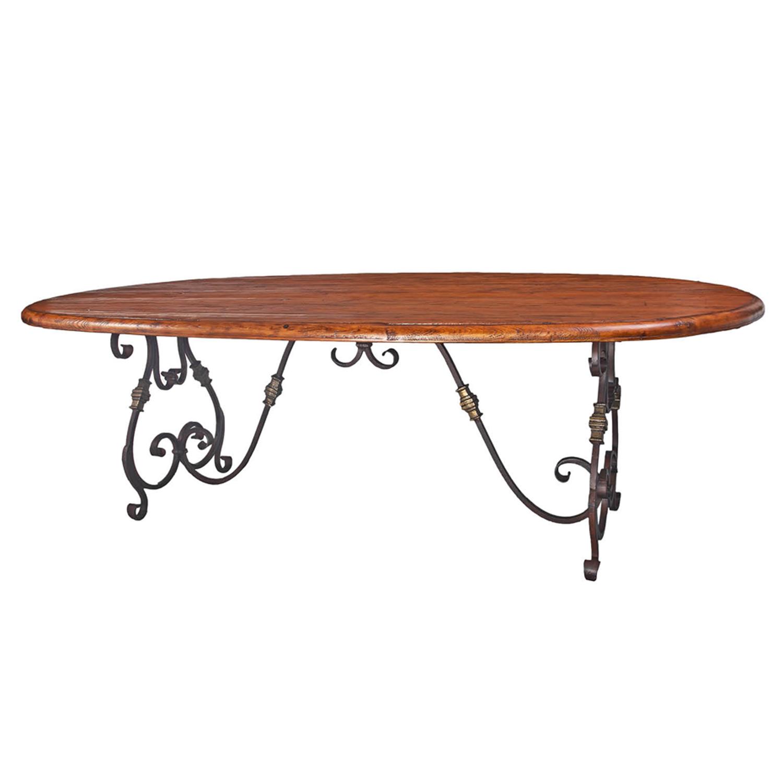 "Breakfast Room   Oval Rustic Table - 96""x48""x30"""
