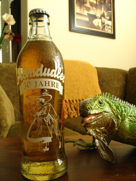 The romantic bottle scene is somewhat ruined by the giant green iguana staring at them.