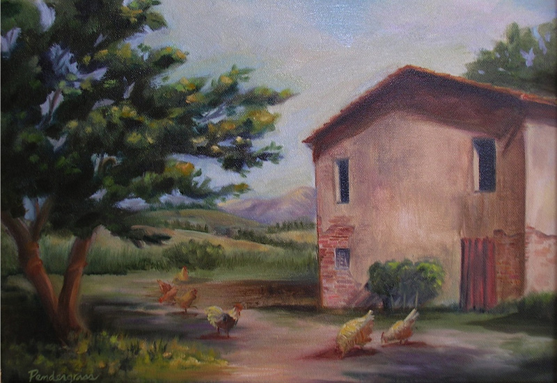 """Tuscan Farmhouse""  Oil   12"" x 16""    SOLD"