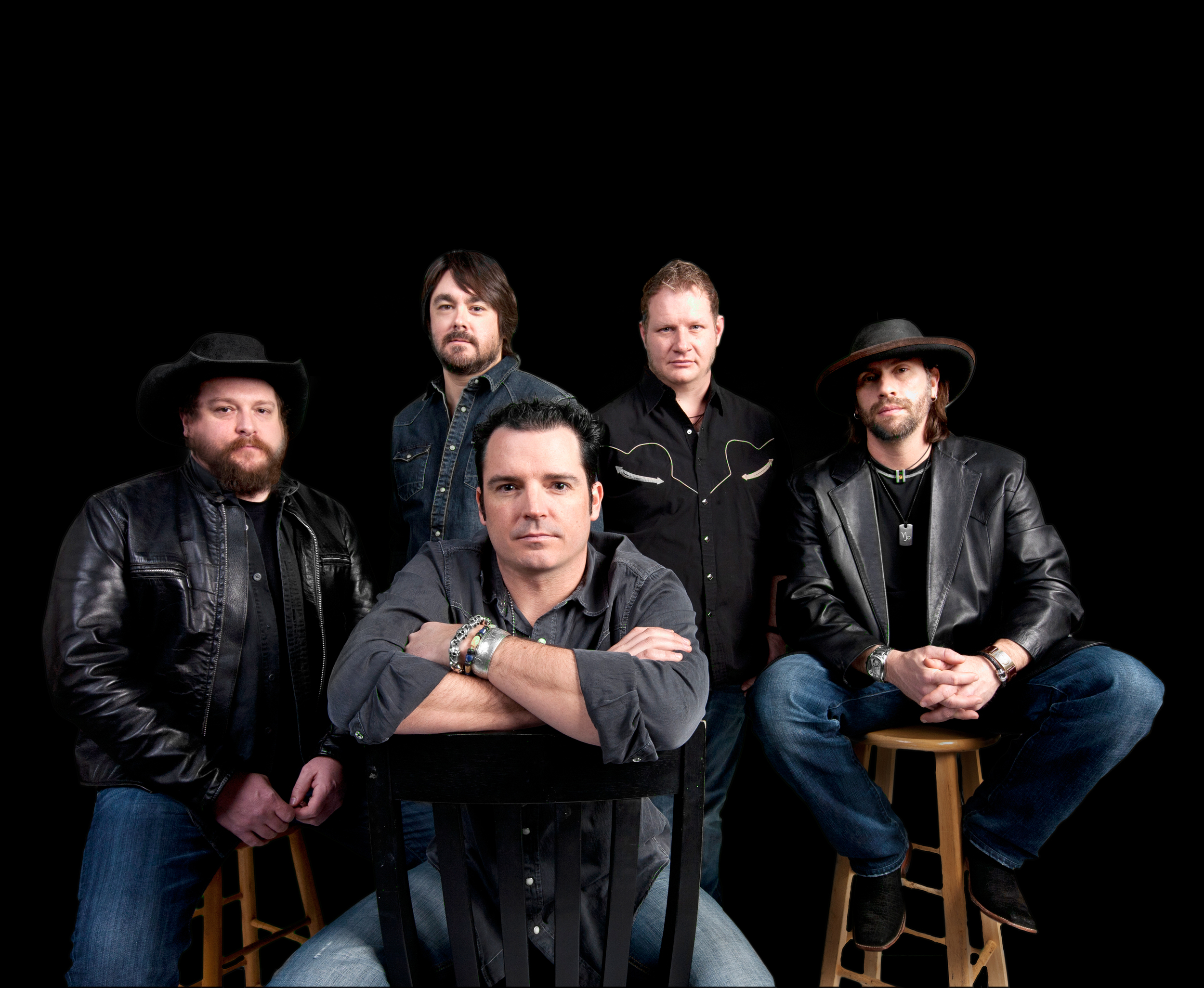 The boys of Reckless Kelly. I interviewed Cody Braun, left in the black hat.