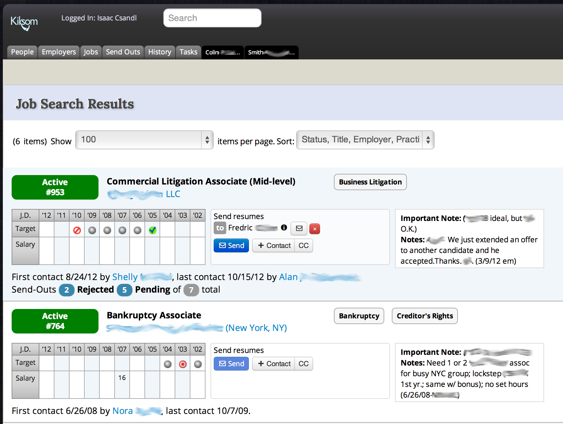 Job Search Results List View