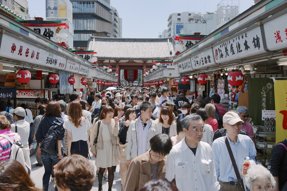 Visitors to Nakamise, one of the oldest shopping centers in Japan.