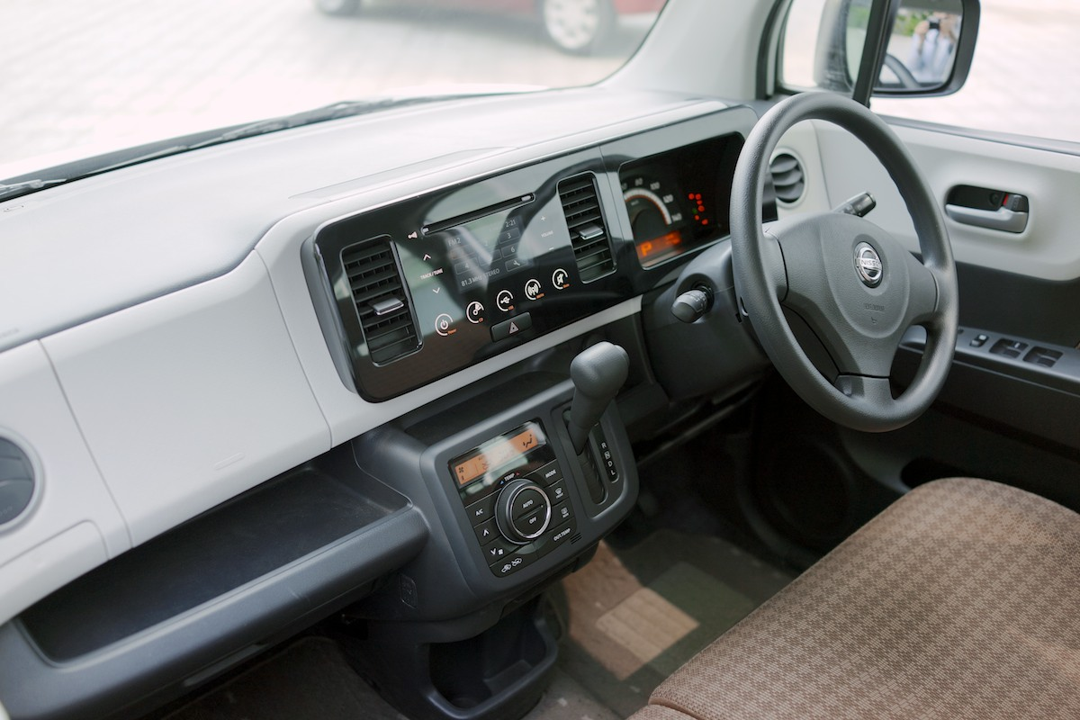 Most kei cars have very budget interiors. This one is actually not bad.