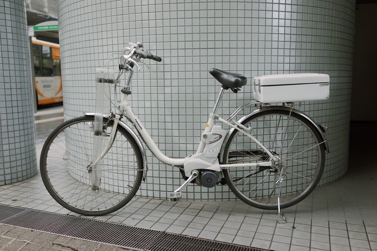A police bicycle with motor assist. Notice the Panasonic logo.
