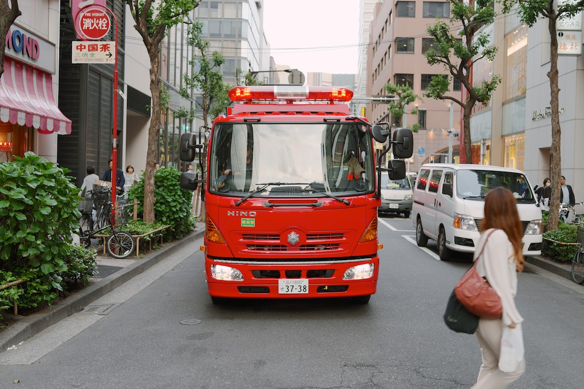 A firetruck spotted in Ginza.