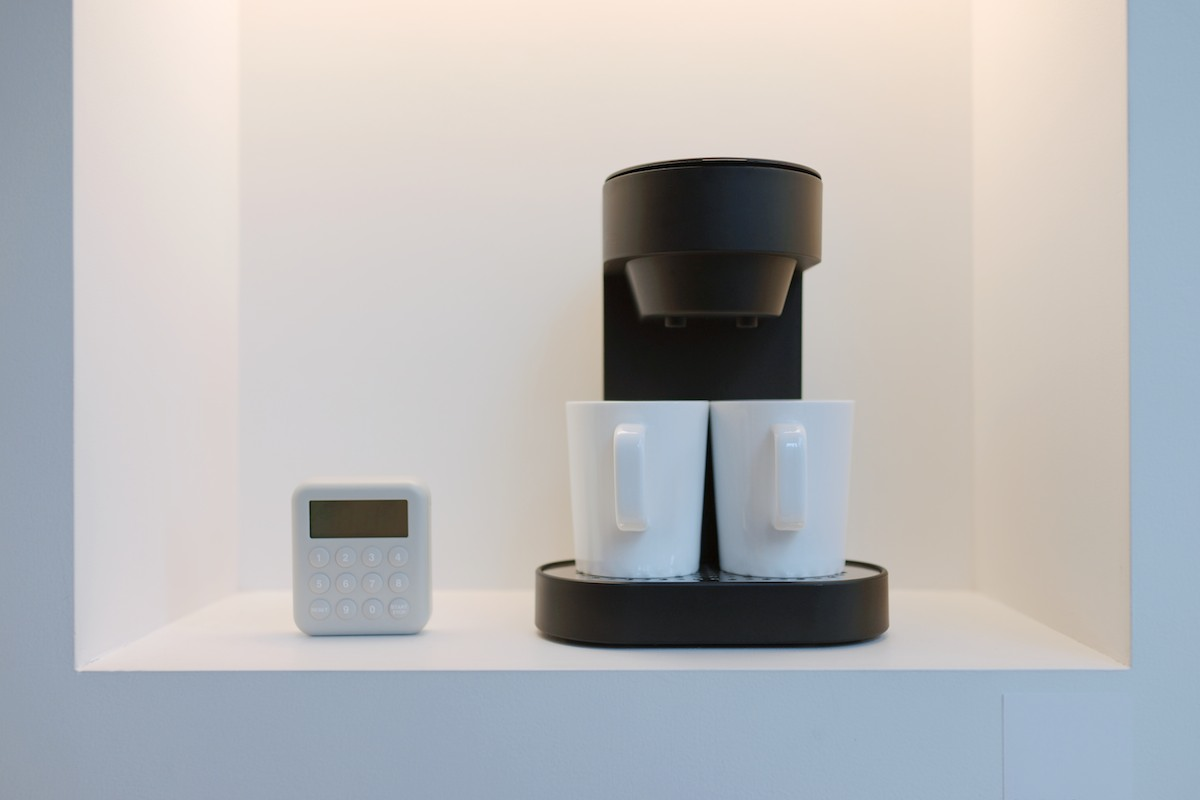 Coffee maker with timer.