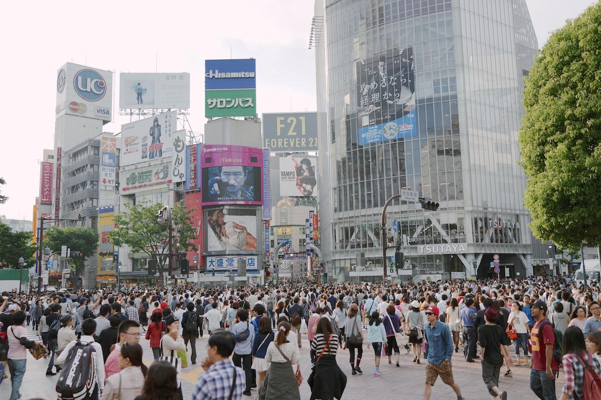 The Shibuya crossing at day.