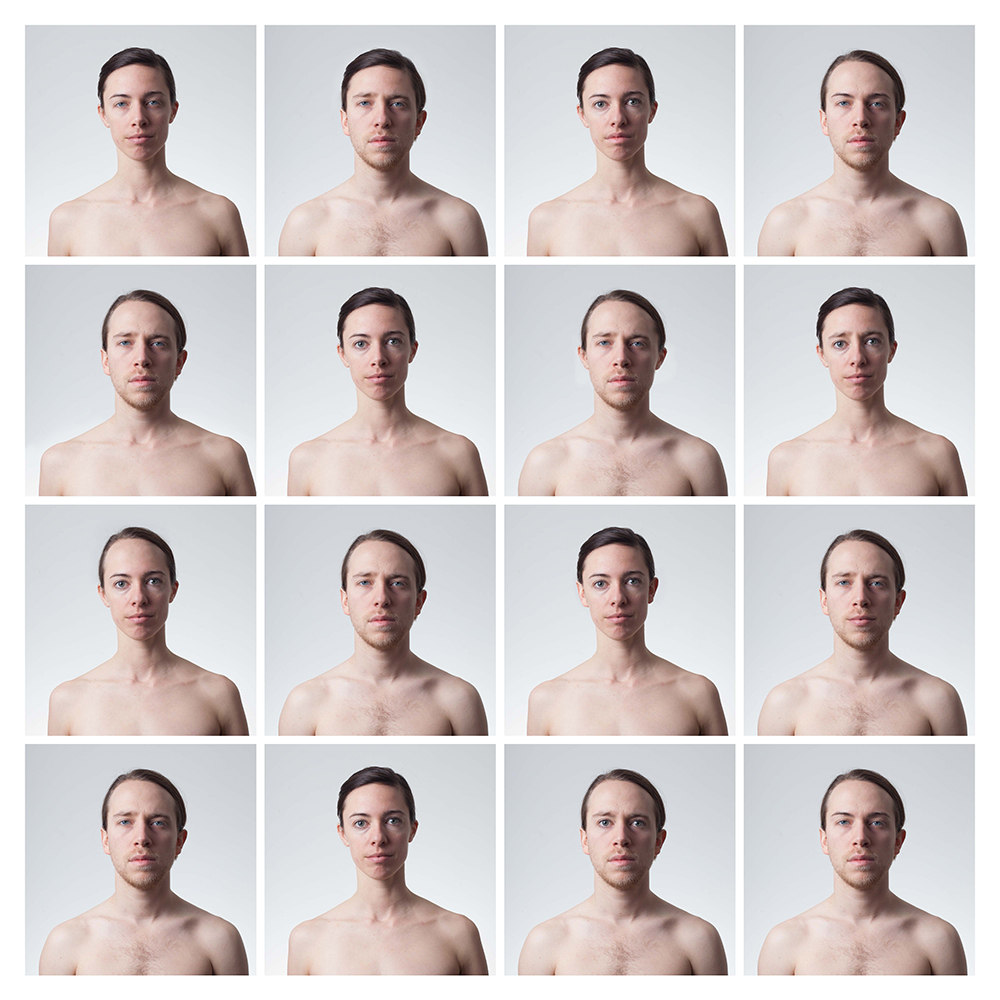 The Lovers,  2016, inkjet prints on velvet rag, 78 x 78 inches  This project is a series of digital photographs of the artist and her husband, digitally altered to swap facial features between the couple.   © 2016 Emily Burns. All Rights Reserved.