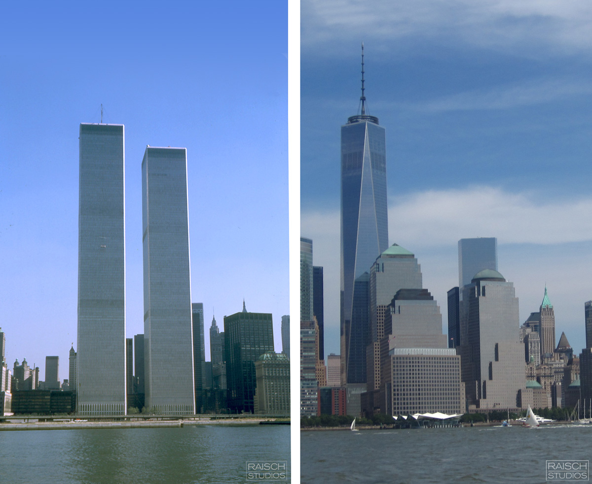 Left: Thomas Raisch, © 1978 - The view of the World Trade Center - Right: Michael Raisch, © 2014 - The view of One World Trade Center.
