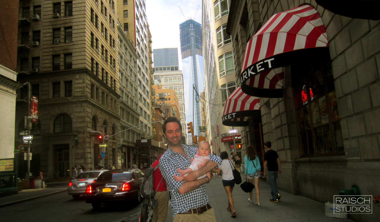 Michael and his daughter seen during the construction of One World Trade Center