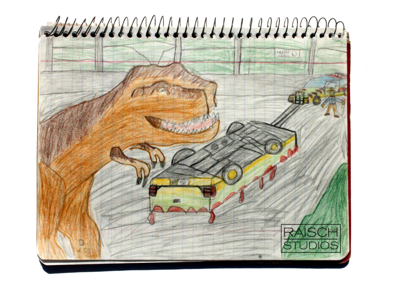 Original Jurassic Park sketch, 6th Grade. © Raisch Studios Archives, 1993.