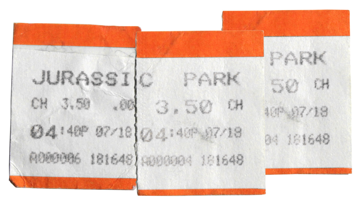 Original tickets for 'Jurassic Park' in 1993. ($3.50)