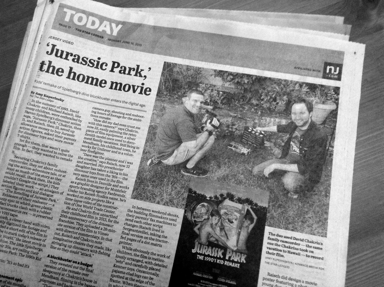 The Star Ledger, 'Jurassic Park, The home movie' -June 15, 2015