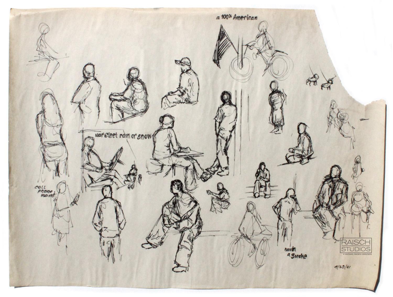Original gesture drawings and captions, 9/25/01 –Michael Raisch © 2001