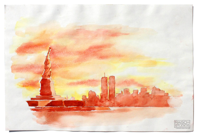 Watercolor painting of Lower Manhattan, Undated 2001 © Michael Raisch