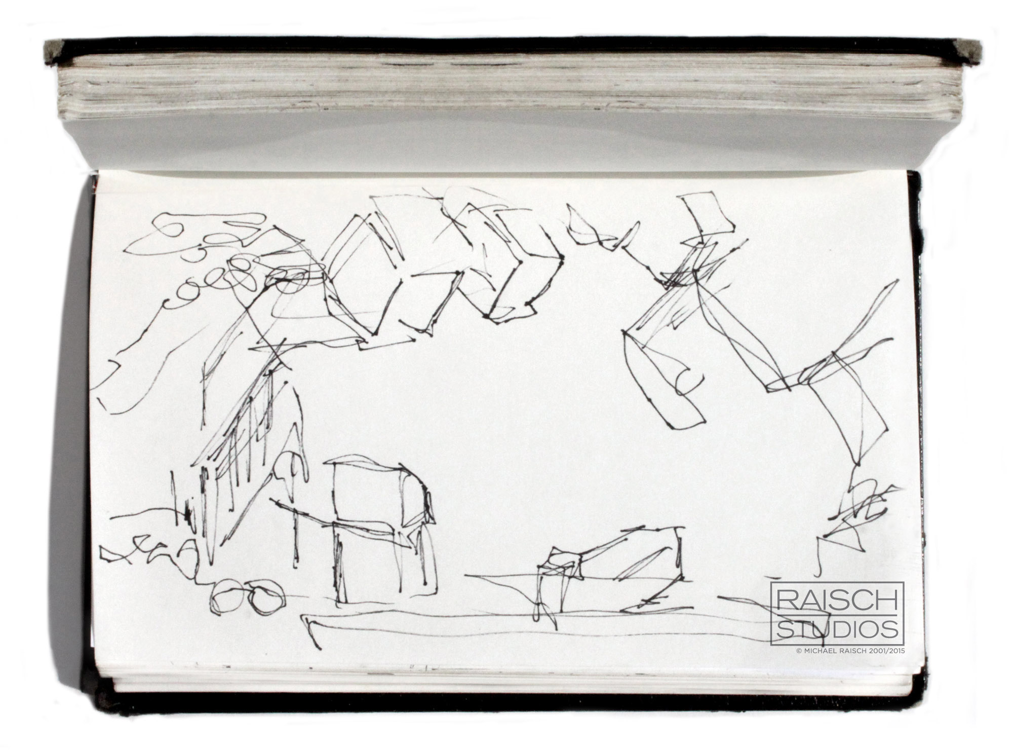 Gesture drawing of the 'Saturday Night Live' Studios, November 2001
