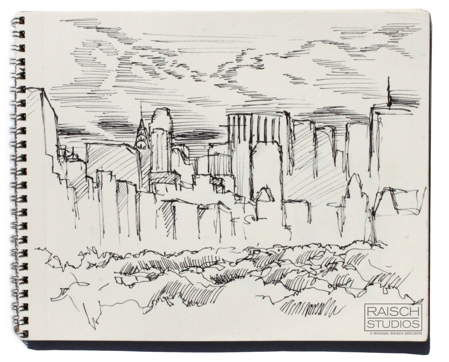 Central Park and Midtown, sketched from the MET, November 3rd, 2001