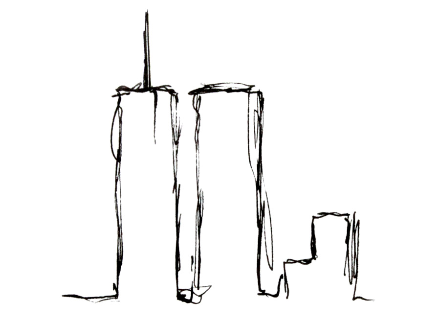 Original sketch of the Twin Towers from EWR, 3/2001