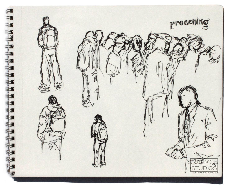 Gesture drawings of New Yorkers, November 3rd, 2001