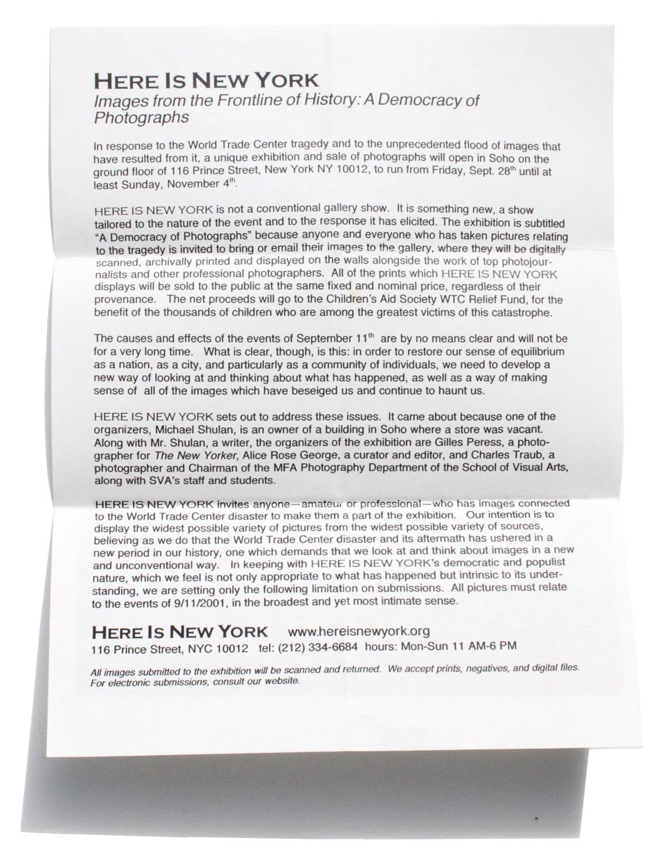 "Original ""Here is New York"" exhibition mission statement, November 3, 2001"