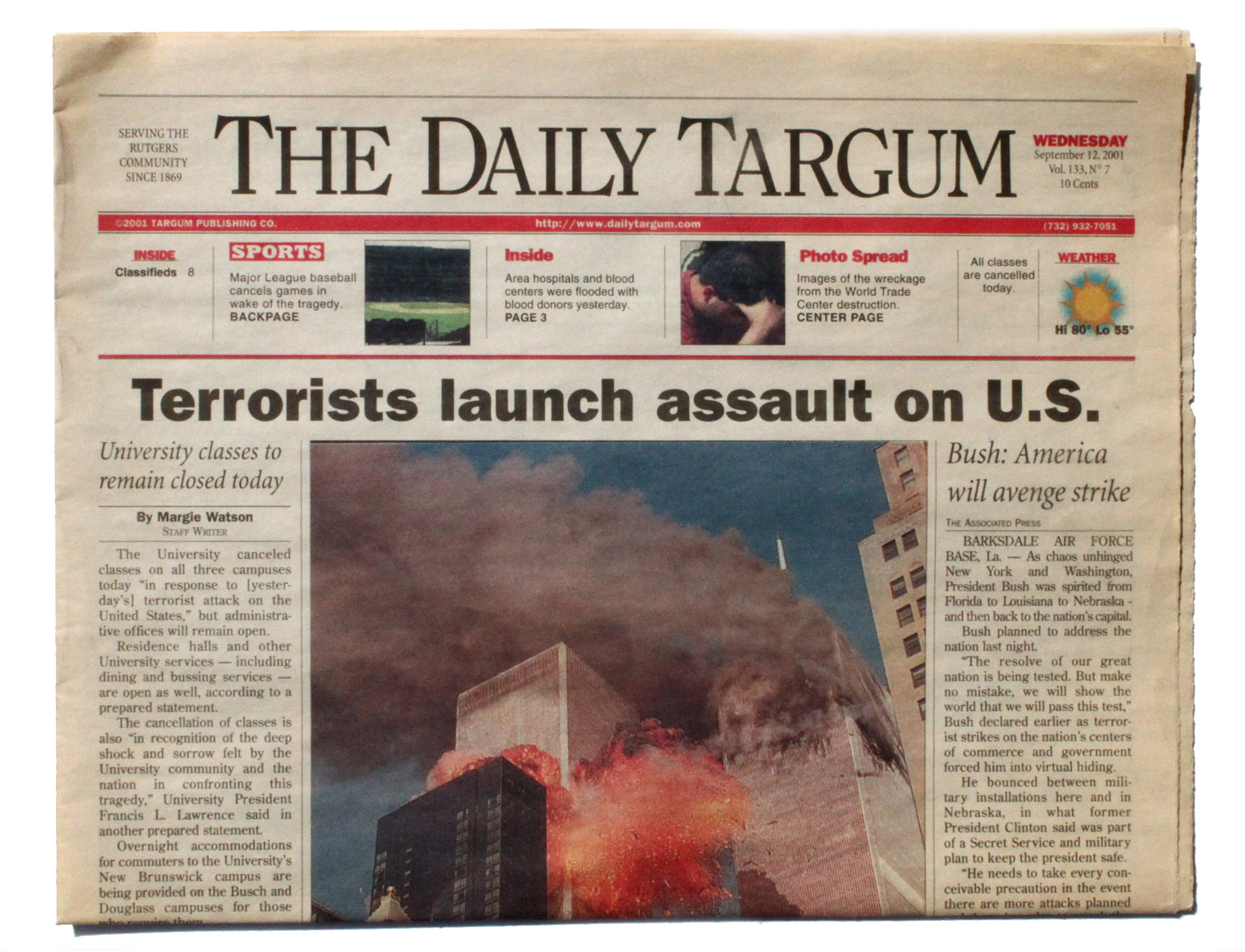 September 11th edition of the Daily Targum, Rutgers