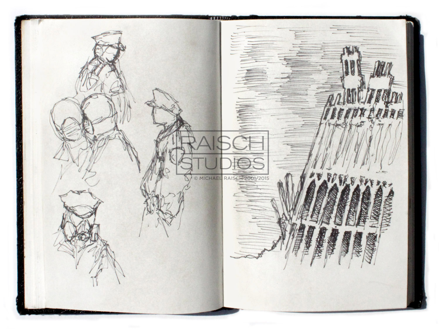 Original sketch of First Responders and the remains of the North Tower, November 3, 2001