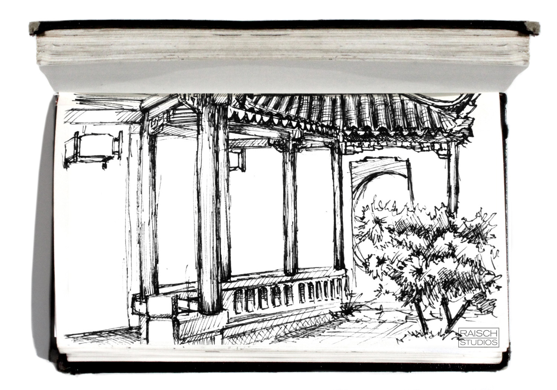 Sketch of the Astor Court - November 3,2001