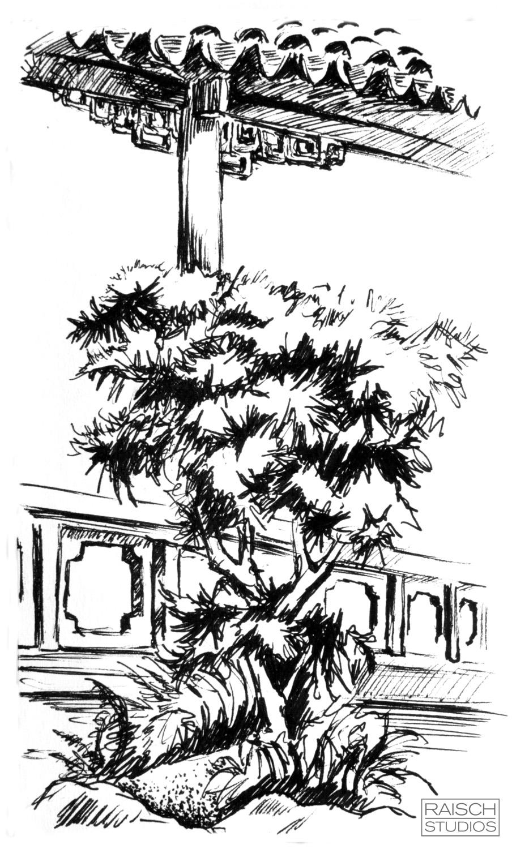 Astor Court Sketch,June 2001