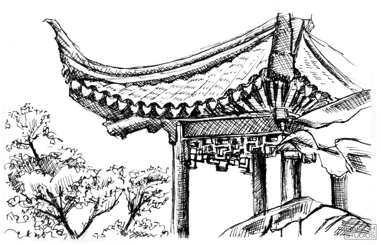 Left and Above, original sketches of Astor Court -November 3, 2001