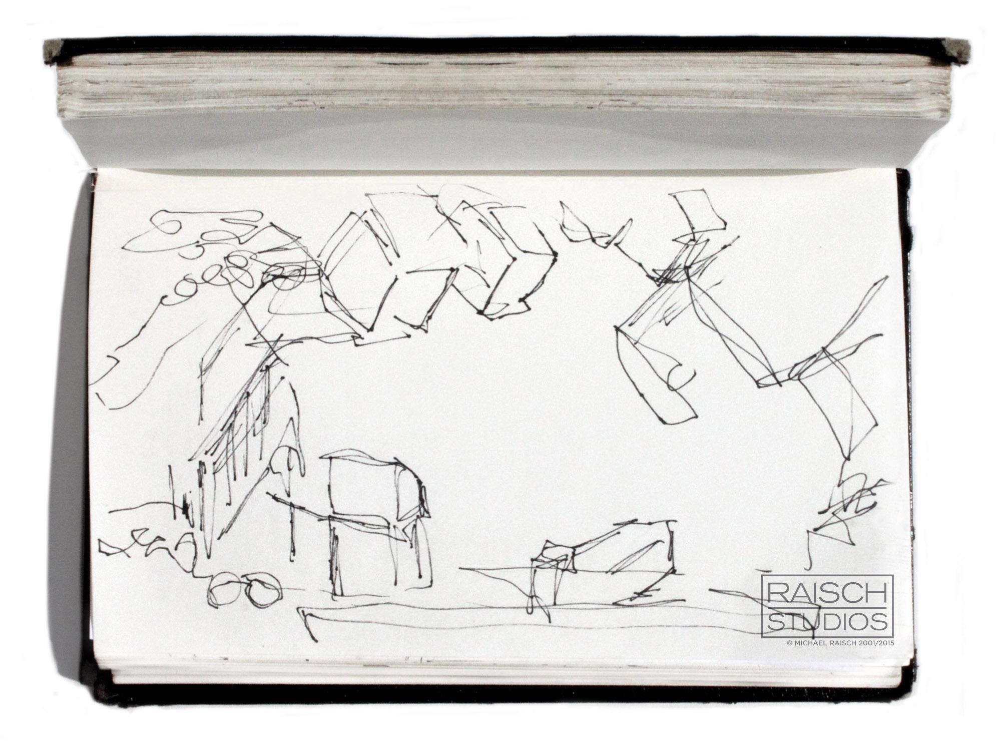 Original gesture sketch of the Saturday Night Live studios, November 3, 2001