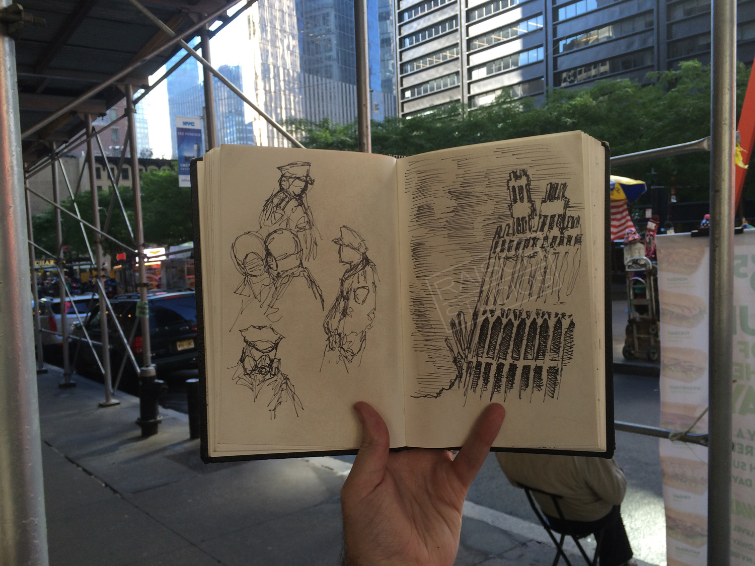 Site of the original November 3, 2001 sketch of the World Trade Center rephotographed in 2016