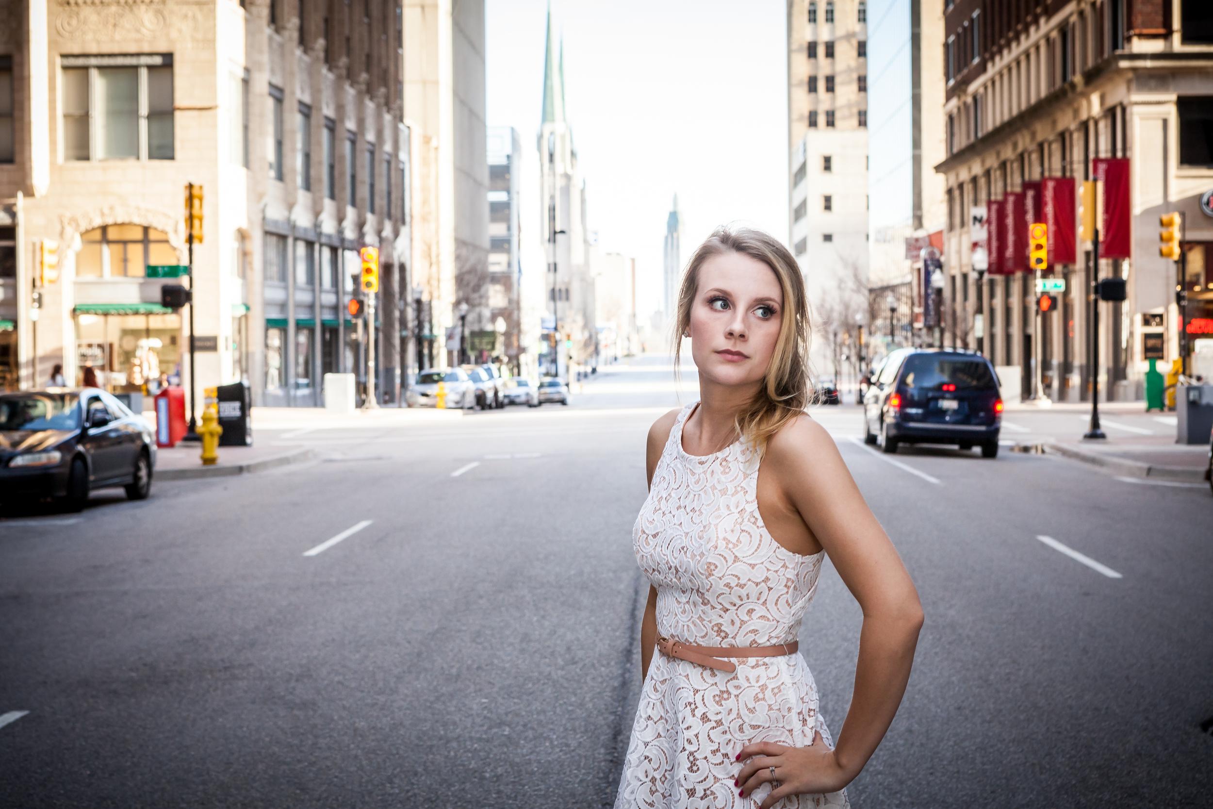 Amanda looking posh at 5th and Boston before she knew I had started shooting.