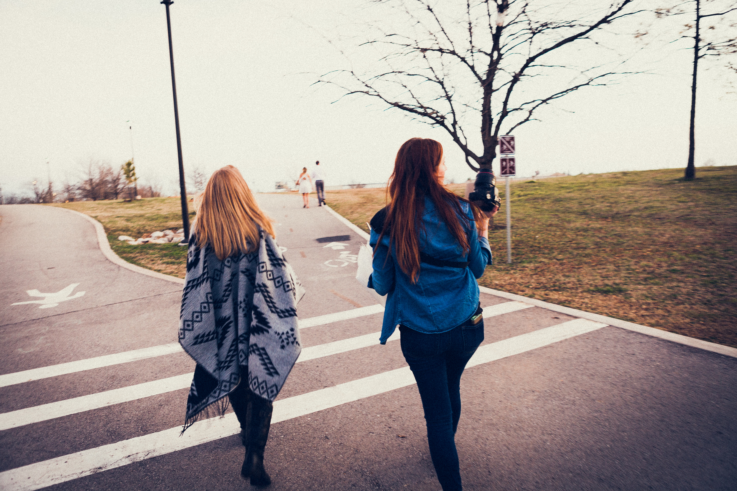I leave you with this picture of my dream team, headed up a hill after our models. (Cindy, left and Hanna, right)