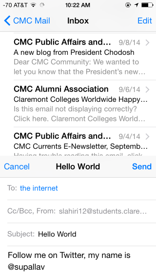 Swiping down on an incomplete email in the new Mail app for iOS 8