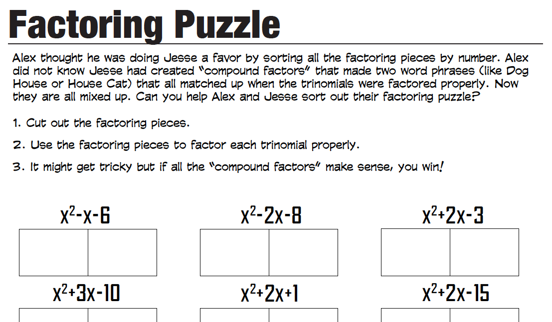 ALL THE PUZZLE WORKSHEETS