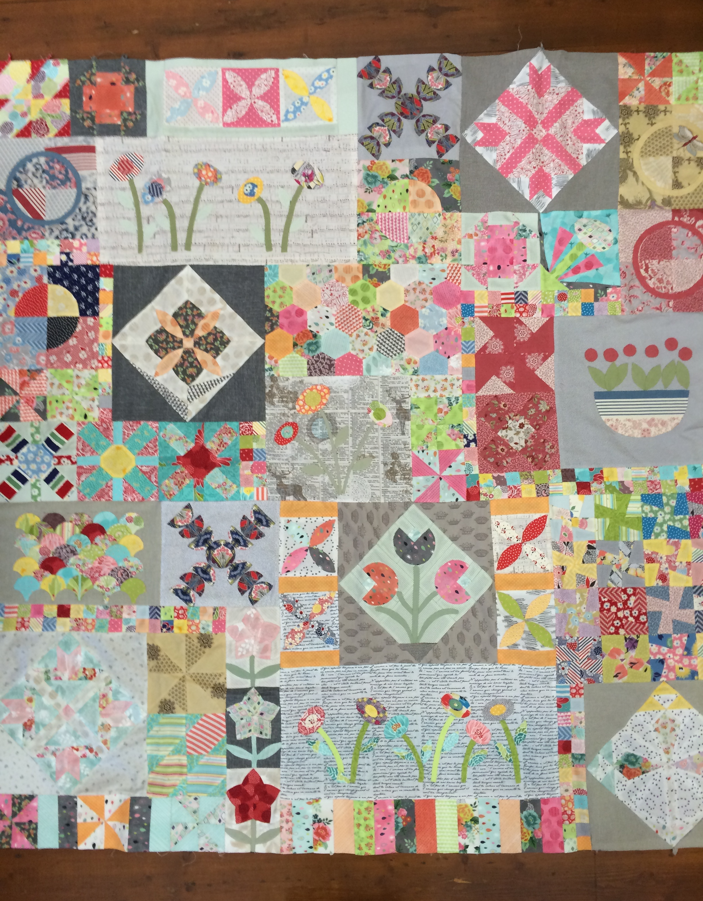 Jo's 'Green Tea and Sweet Beans' quilt top
