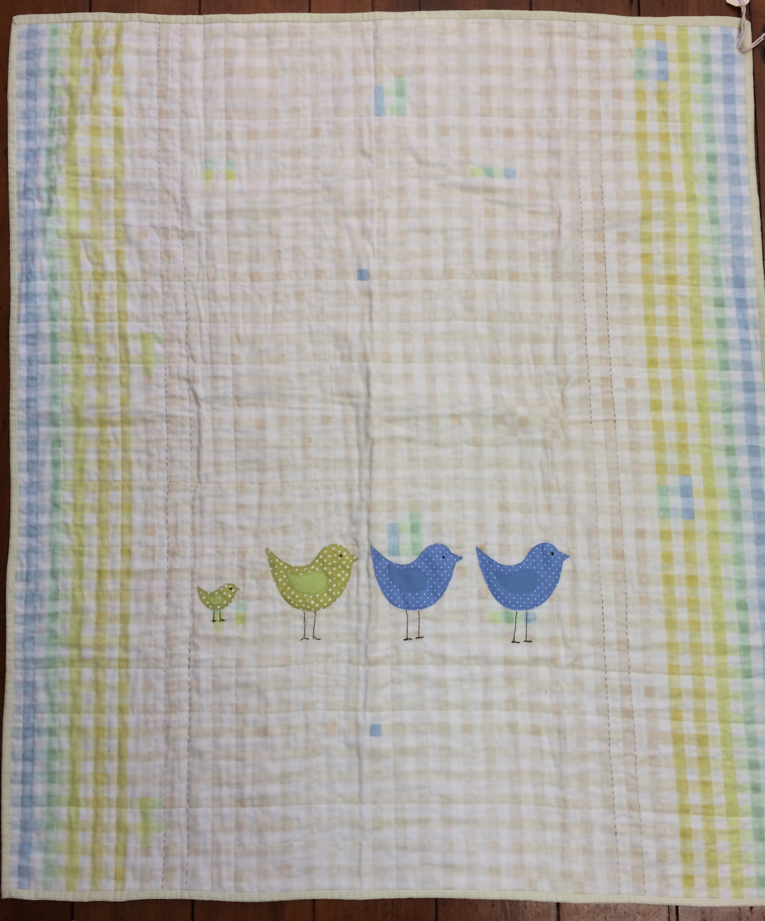 Birds appliquéd onto a whole cloth cot quilt.