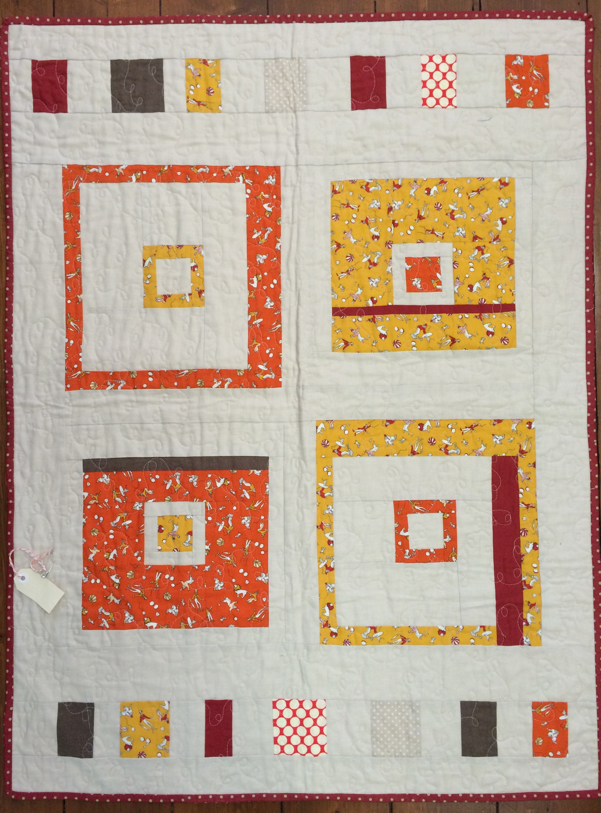 A Kate Conklin pattern, 'A square in there', in linen and cotton fabrics.