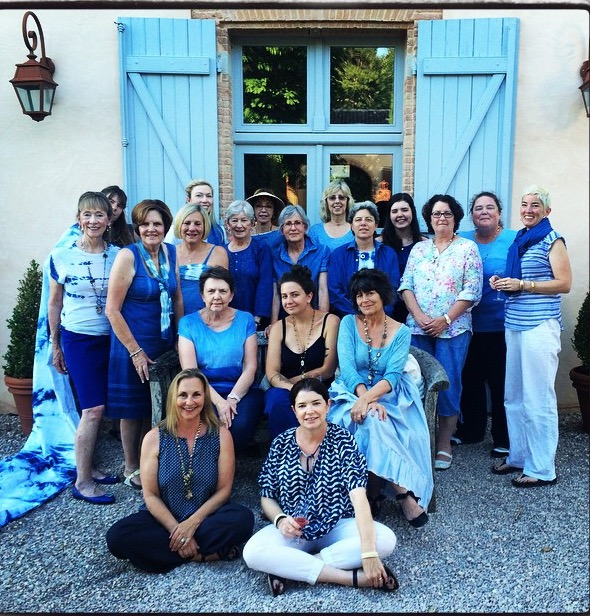The final group pic, showing off woad dyed creations