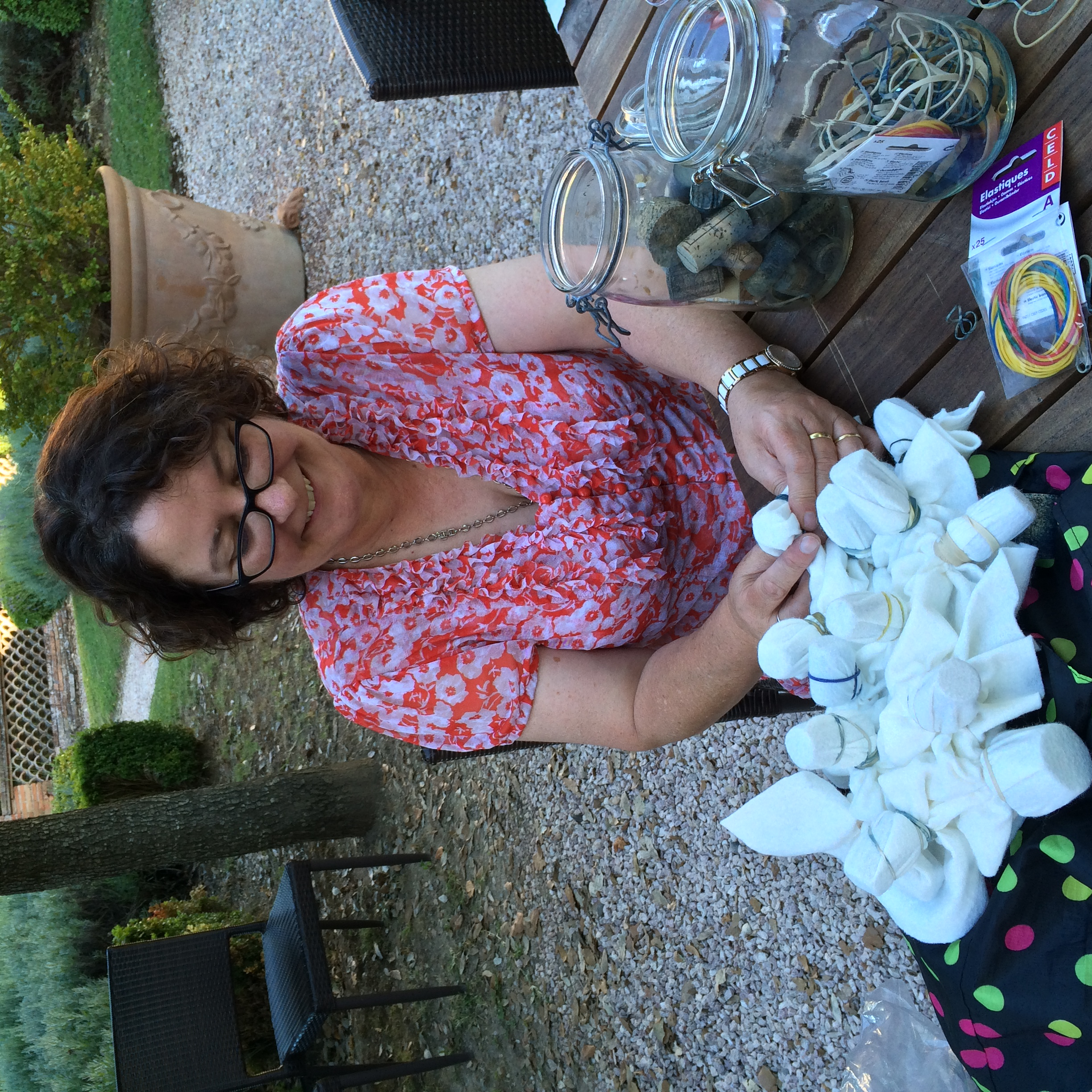 Helen preparing fabric to be dyed.