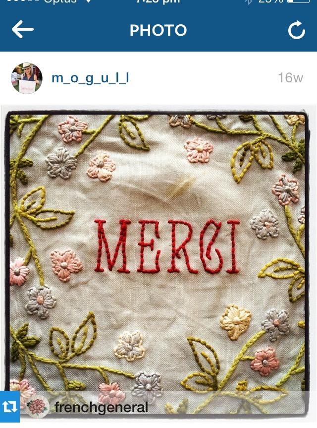 'Merci' stitchery by Cathy Mogull for French General