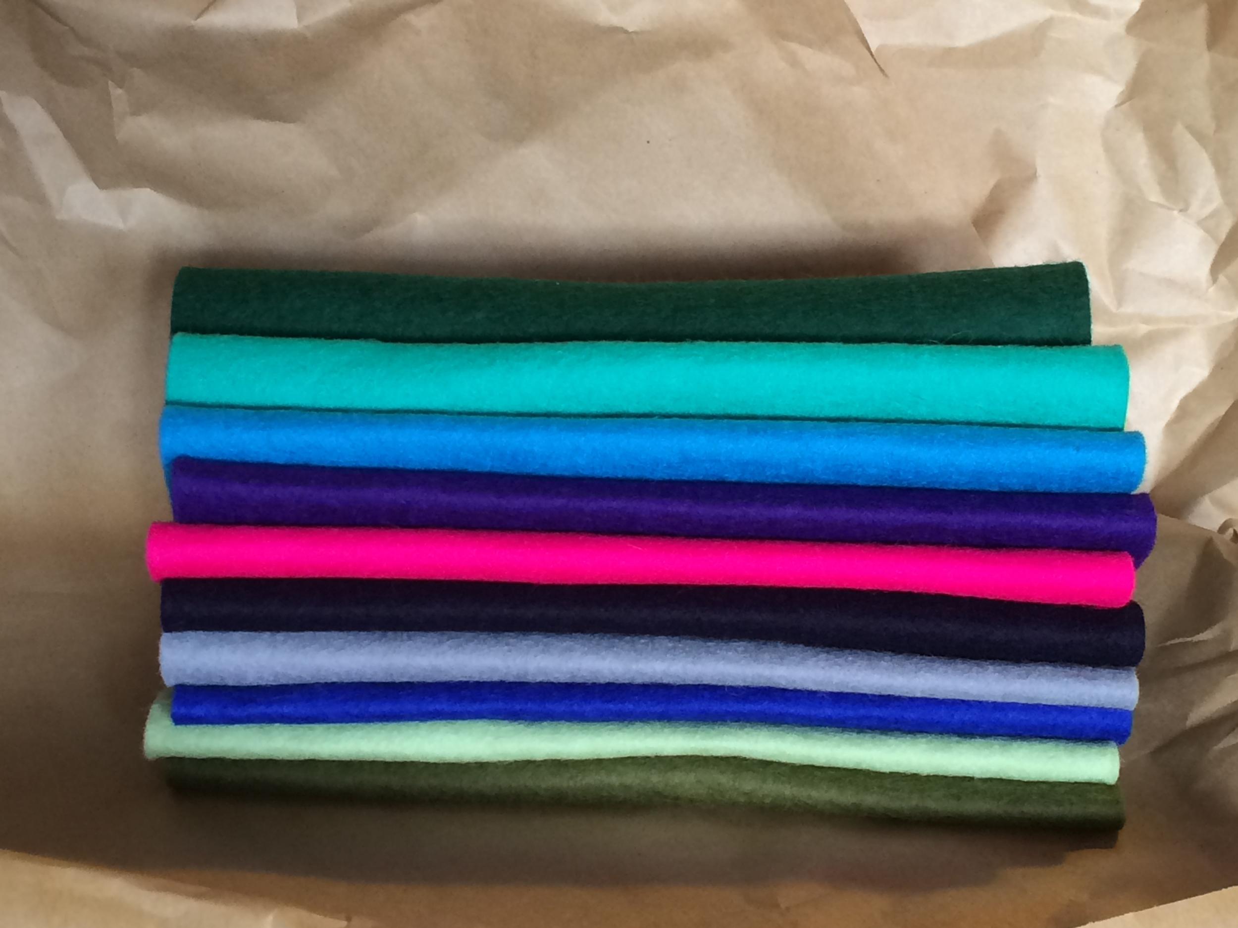 Cool Winterwood felt colours